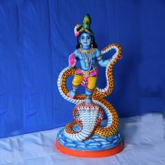 Kalinga Narthana Krishna - colored clay doll - Small