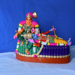 Posing Krishna clay statue - Medium