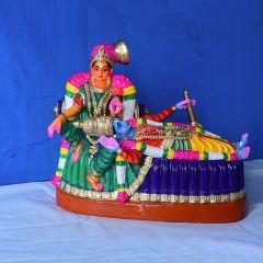 Posing Krishna clay statue - Medium