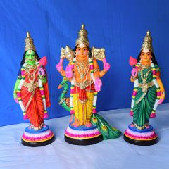 Sri Valli Devasena sametha Subramanya swamy clay doll set - Medium