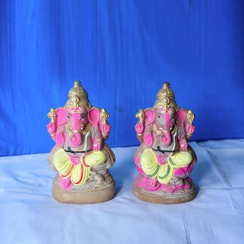 Dharbar Ganesh Murti handcrafted clay doll - Medium