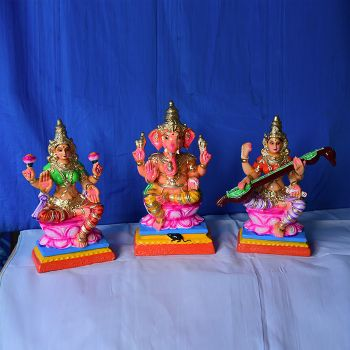 Dharbar Ganesh Murti handcrafted clay doll - Small