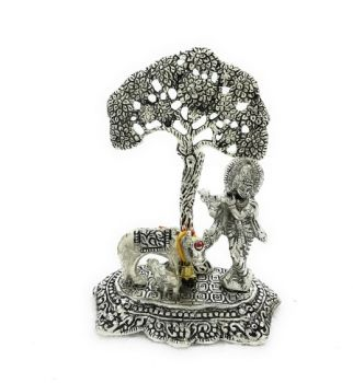 Cow Krishna Tree Silver
